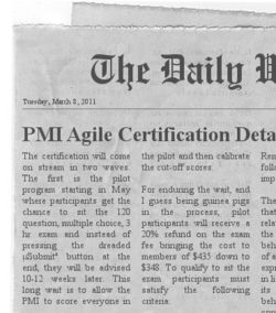 PMI Agile Certification News